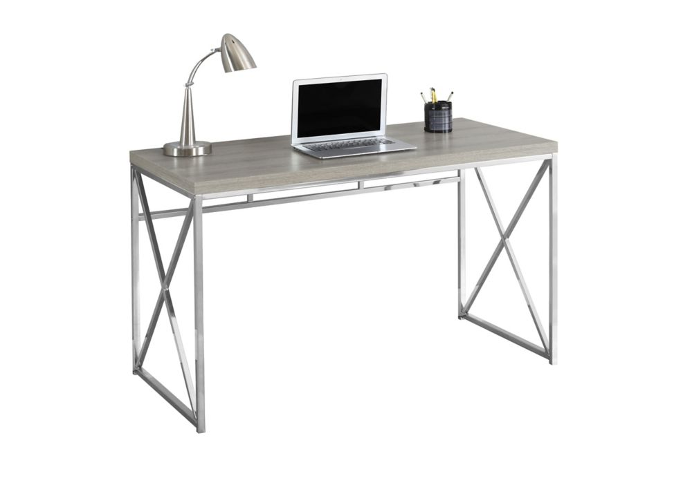 Computer Desk - 48 Inch L / Dark Taupe / Chrome Metal