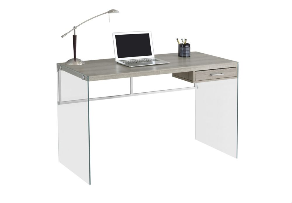 Computer Desk - 48 Inch L / Dark Taupe / Tempered Glass