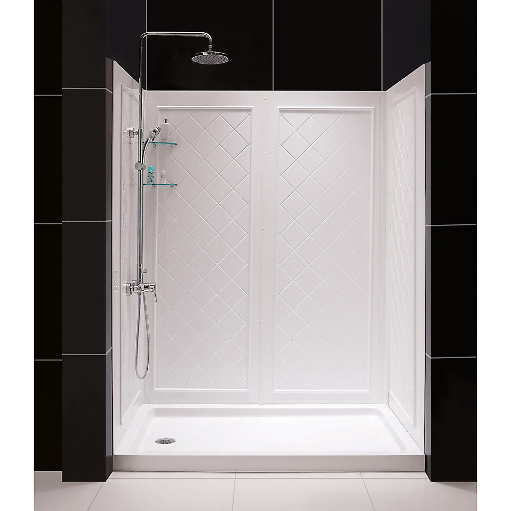 SlimLine 30-inch x 60-inch Single Threshold Shower Base in White Left Hand Drain Base with Back Walls