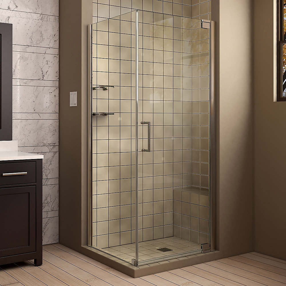 Elegance 34-inch x 34-inch x 72-inch Semi-Frameless Pivot Shower Enclosure in Brushed Nickel