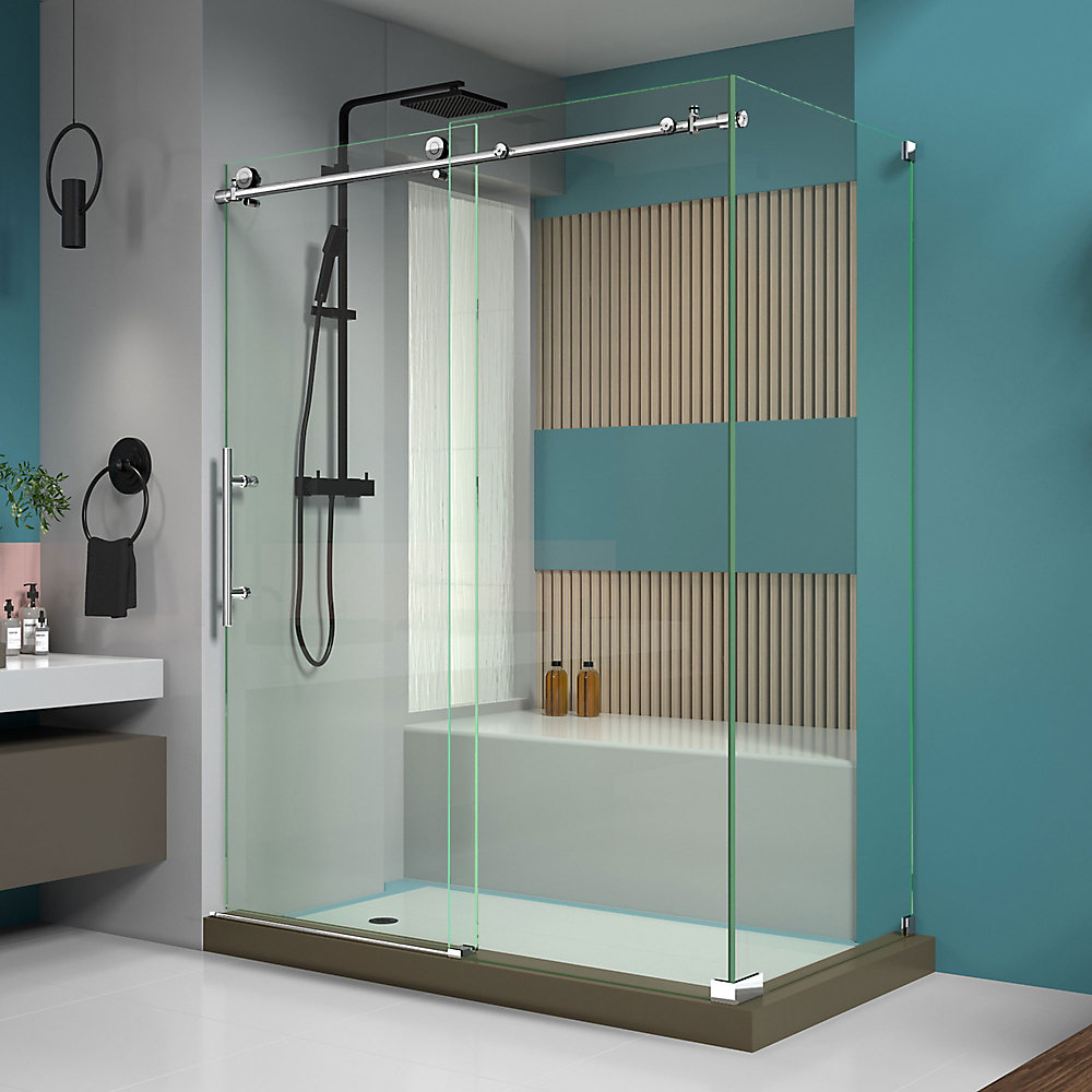 Enigma-X 60.375-inch x 76-inch Frameless Corner Sliding Shower Enclosure in Polished Stainless Steel with Handle