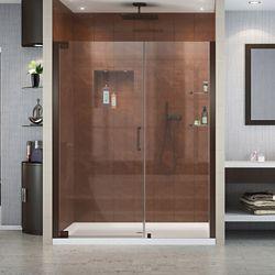DreamLine Elegance 58-inch to 60-inch x 72-inch Semi-Frameless Pivot Shower Door in Oil Rubbed Bronze