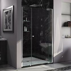 DreamLine Allure 48-inch to 55-inch x 73-inch Semi-Frameless Pivot Shower Door in Chrome