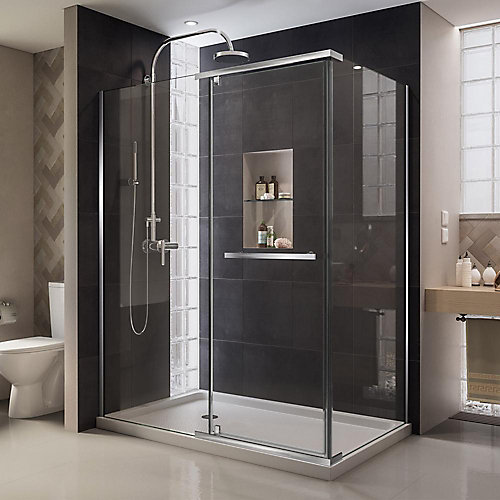 Quatra 46-5/16-inch x 32-5/16-inch x 72-inch Semi-Frameless Pivot Shower Enclosure in Chrome