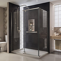 Quatra 46-5/16-inch x 32-5/16-inch x 72-inch Semi-Frameless Pivot Shower Enclosure in Brushed Nickel