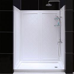 DreamLine SlimLine 34-inch x 60-inch Single Threshold Shower Base in White Right Hand Drain Base with Back Walls