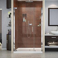 DreamLine Elegance 36-inch x 48-inch x 74.75-inch Semi-Frameless Pivot Shower Door in Chrome with Center Drain White Acrylic Base