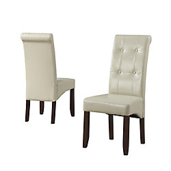 Cosmopolitan Solid Wood Brown Parson Armless Dining Chair with Beige Faux Leather Seat (Set of 2)