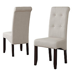 Cosmopolitan Solid Wood Brown Parson Armless Dining Chair with Beige Polyester Seat - Set of 2