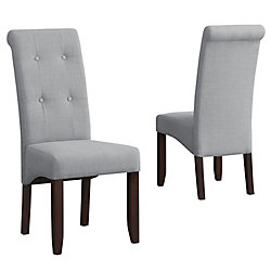 Cosmopolitan Deluxe Solid Wood Brown Parson Armless Dining Chair with Grey Polyester Seat (Set of 2)
