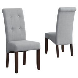 Simpli Home Cosmopolitan Deluxe Solid Wood Brown Parson Armless Dining Chair with Grey Polyester Seat (Set of 2)