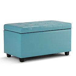 Cosmopolitan Cosmopolitan Medium Rectangular Storage Ottoman Bench in Blue Leather