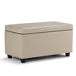 Cosmopolitan Cosmopolitan Medium Rectangular Storage Ottoman Bench in Cream Leather