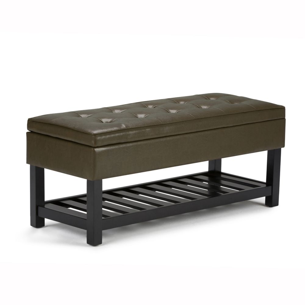 Cosmopolitan Rectangular Entryway Storage Ottoman Bench with Open Bottom