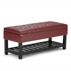Simpli Home Cosmopolitan 43.5-inch x 18-inch x 17-inch Faux Leather Ottoman in Red