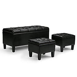 Dover 44-inch x 20-inch x 19.5-inch Faux Leather Ottoman in Black