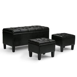 Simpli Home Dover 44-inch x 20-inch x 19.5-inch Faux Leather Ottoman in Black