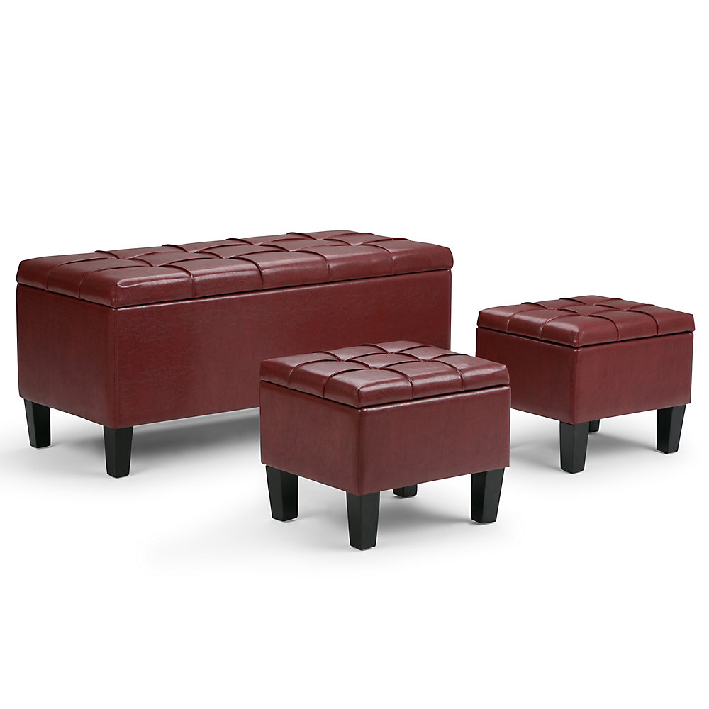 Dover 44-inch x 20-inch x 19.5-inch Faux Leather Ottoman in Red