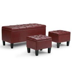Simpli Home Pouf Dover, 44po x 20po x 19,5po, similicuir, rouge