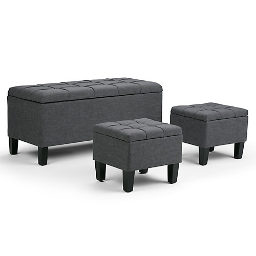 Dover 44-inch x 20-inch x 19.5-inch Polyester/Polyester Blend Ottoman in Grey