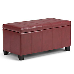 Dover 36-inch x 18-inch x 18-inch Faux Leather Ottoman in Red