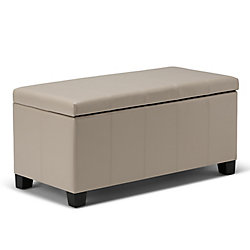 Dover 36-inch x 18-inch x 18-inch Faux Leather Ottoman in Beige