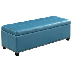 Simpli Home Pouf Kingsley, 48po x 16,10po x 17,10po, bleu