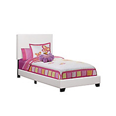 Bed - Twin Size / White Leather-Look Fabric