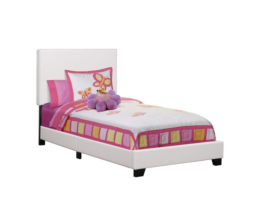 Monarch Specialties Bed - Twin Size / White Leather-Look Fabric