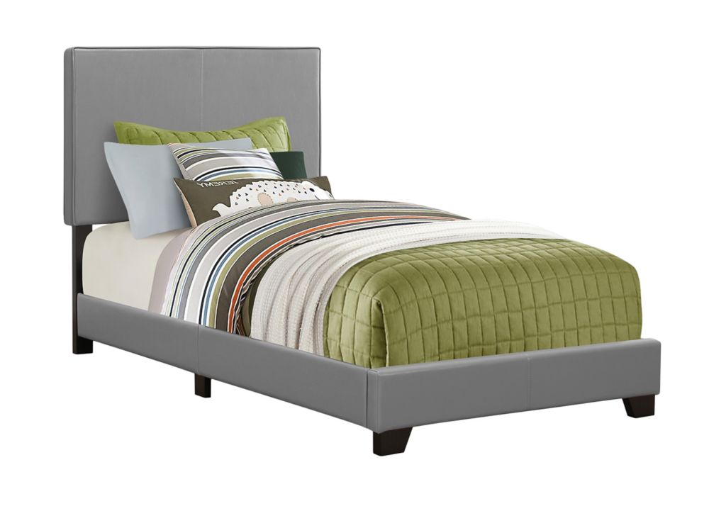 Monarch Specialties Bed - Twin Size / Grey Leather-Look Fabric