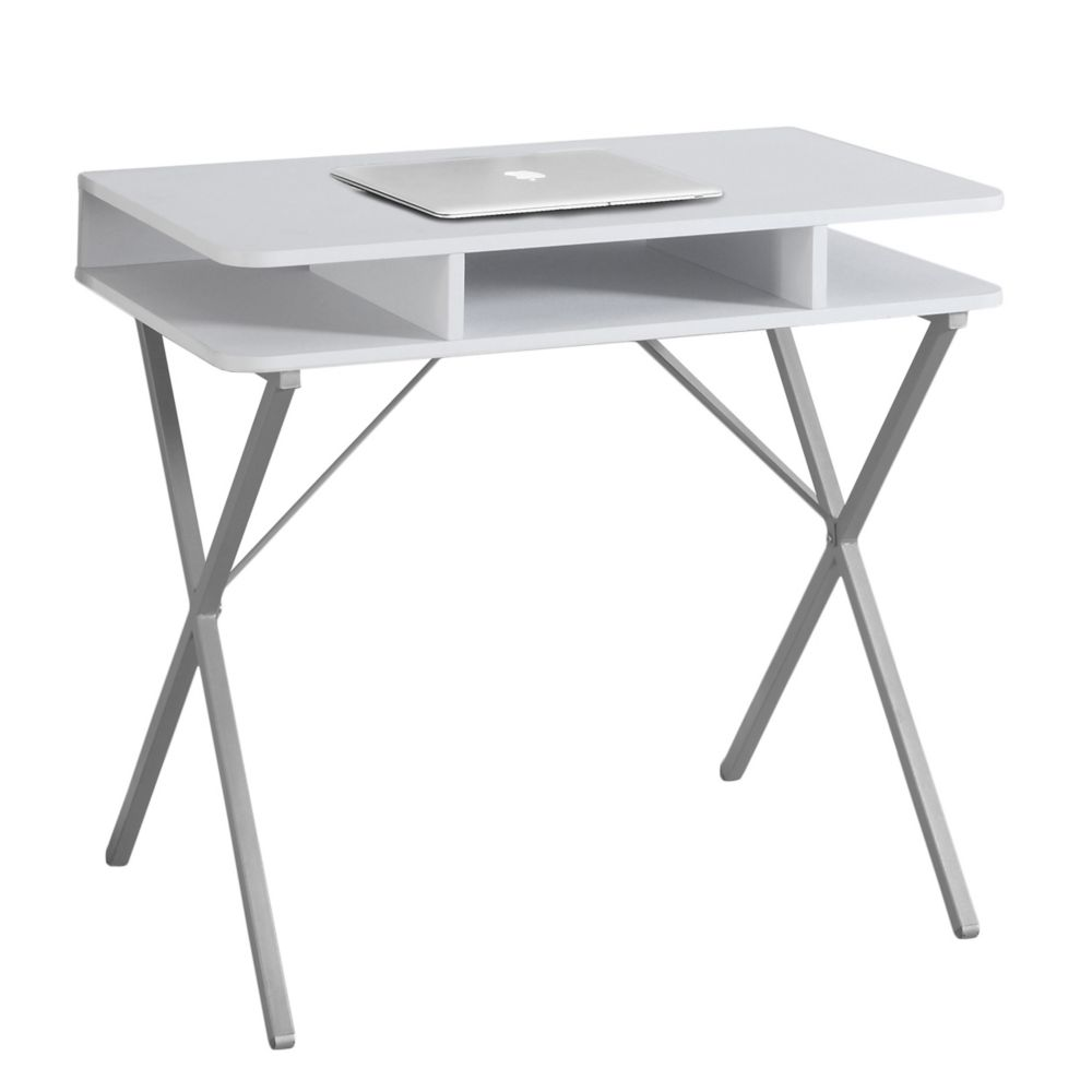 Computer Desk - 31 Inch L / White Top / Silver Metal
