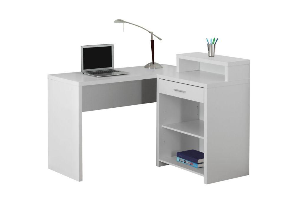 Monarch Specialties 47-inch x 37-inch x 41-inch Standard Computer Desk in White