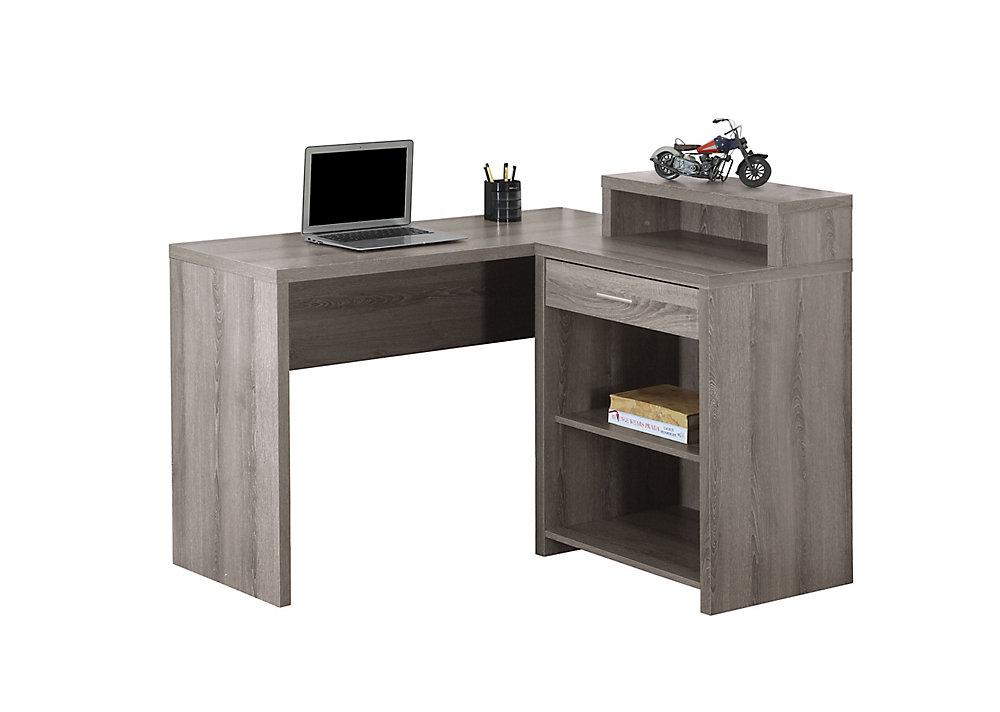 Bureau d'ordinateur standard, gris
