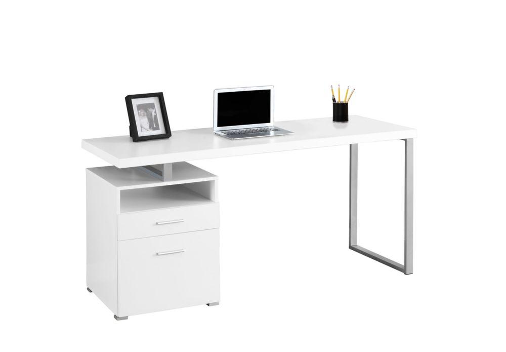 Computer Desk - 60 Inch L / White / Silver Metal
