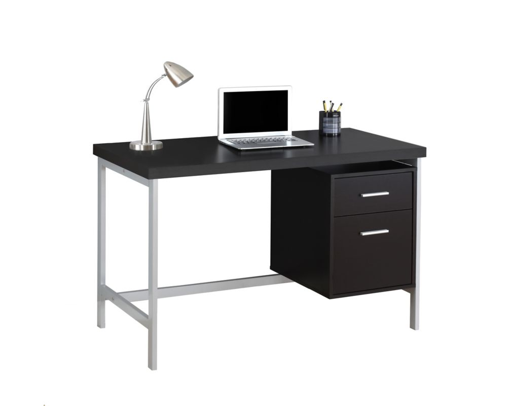Computer Desk - 48 Inch L / Cappuccino / Silver Metal