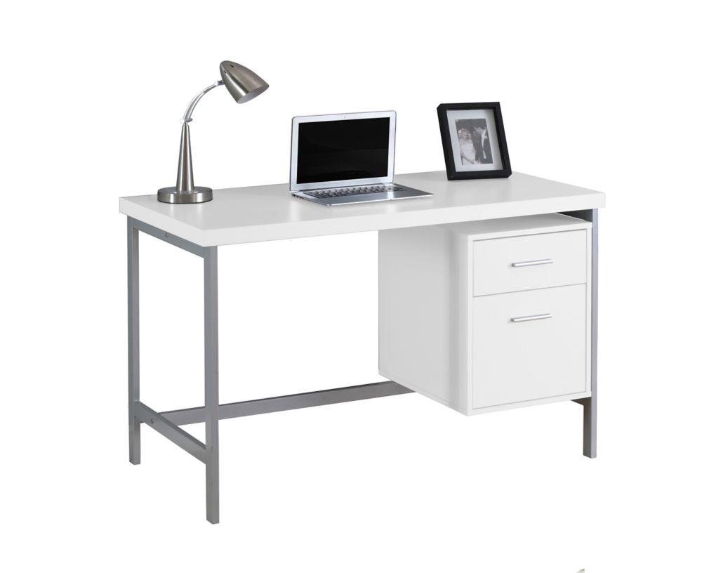 Computer Desk - 48 Inch L / White / Silver Metal