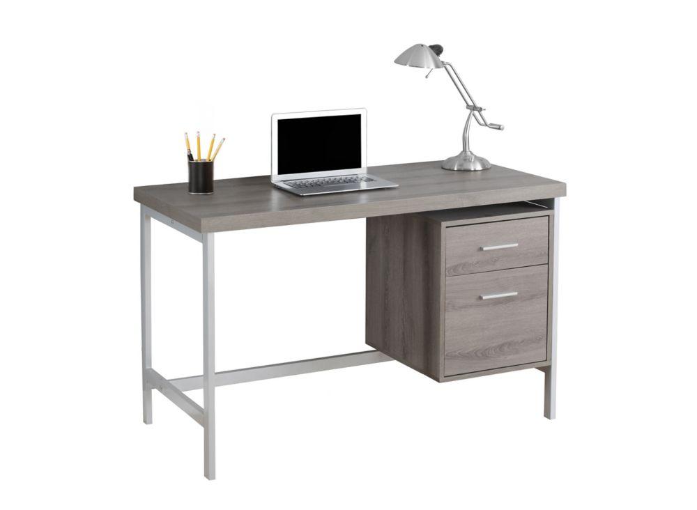Computer Desk - 48 Inch L / Dark Taupe / Silver Metal