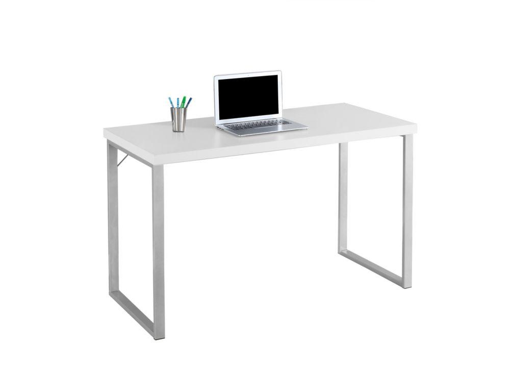 Monarch Specialties 48-inch Computer Desk in White & Silver