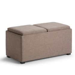 Simpli Home Avalon 35.5-inch x 16.5-inch x 17.70-inch Polyester/Polyester Blend Ottoman in Beige