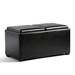 Avalon 35.5-inch x 16.5-inch x 17.70-inch Faux Leather Ottoman in Black