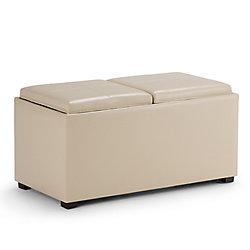 Avalon 35.5-inch x 16.5-inch x 17.70-inch Faux Leather Ottoman in Beige