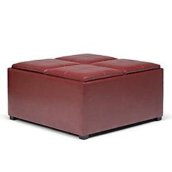Pouf Avalon, 35po x 18po x 35po, similicuir, rouge