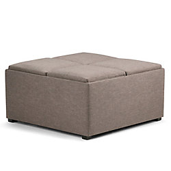 Simpli Home Avalon 35-inch x 18-inch x 35-inch Polyester/Polyester Blend Ottoman in Brown