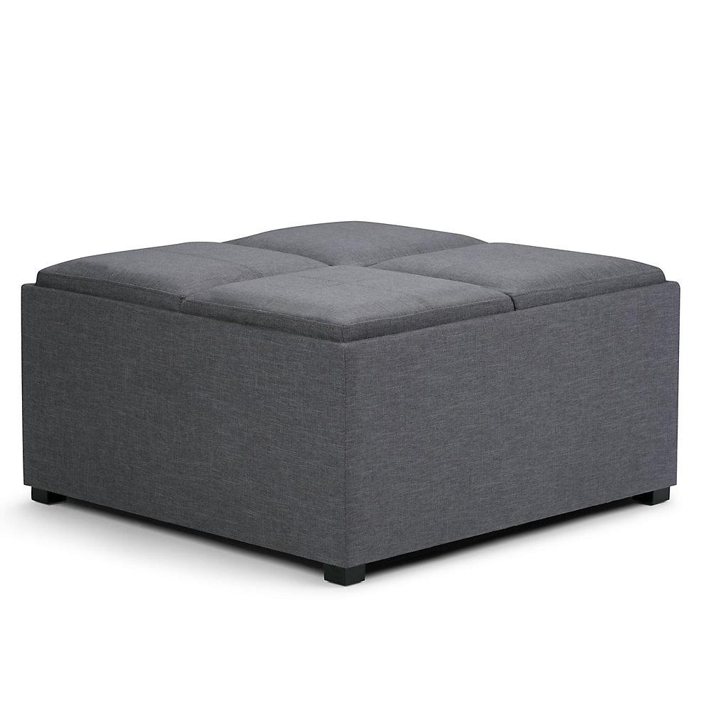 Pouf Avalon 35po x 18po x 35po, polyester/mélange de polyester, gris