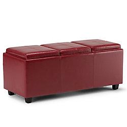 Pouf Avalon, 42po x 17po x 17po, similicuir, rouge
