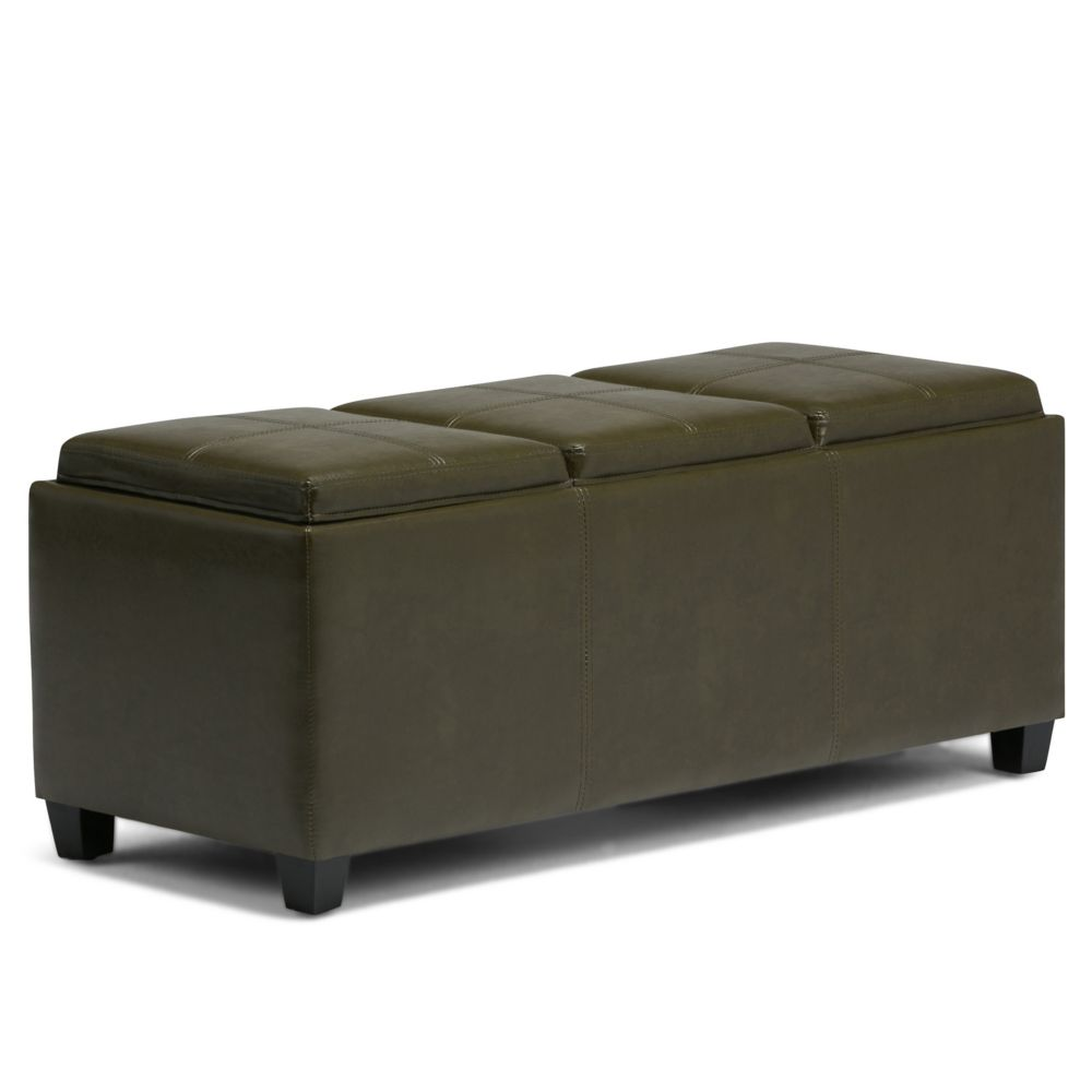 Avalon Extra Large Rectangular Storage Ottoman with 3 Serving Trays