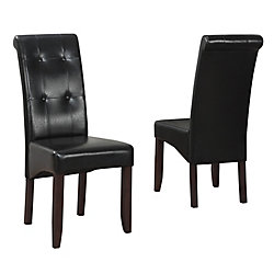 Cosmopolitan Solid Wood Brown Parson Armless Dining Chair with Black Faux Leather Seat (Set of 2)