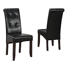 Cosmopolitan Solid Wood Brown Parson Armless Dining Chair with Black Faux Leather Seat - Set of 2