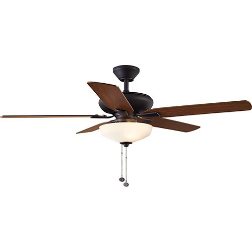 Hampton Bay 52 inch Holly Springs LED Indoor Oil-Rubbed Bronze Ceiling Fan with Light Kit