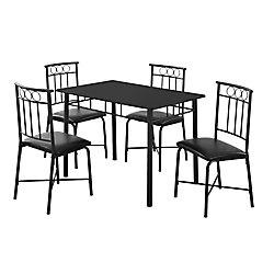 Monarch Specialties Dining Set - 5-Piece Set / Black Metal And Top